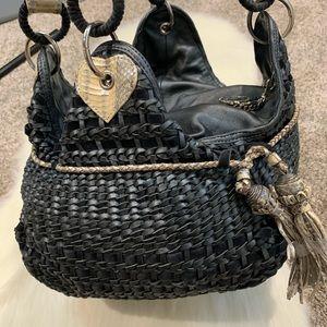 Beverly Feldman Handbag Grey Woven Hobo